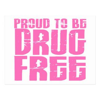 Orgulloso ser droga libere el rosa 2 tarjetas postales