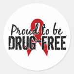 Orgulloso ser droga libere etiquetas redondas