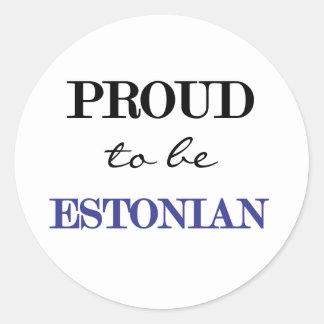 Orgulloso ser estonio pegatina redonda