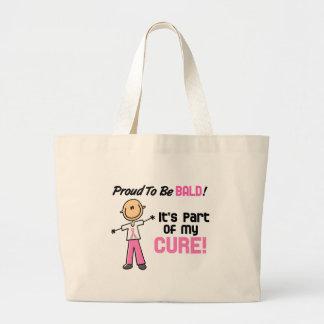 Orgulloso ser figura calva del palillo del cáncer bolsas de mano