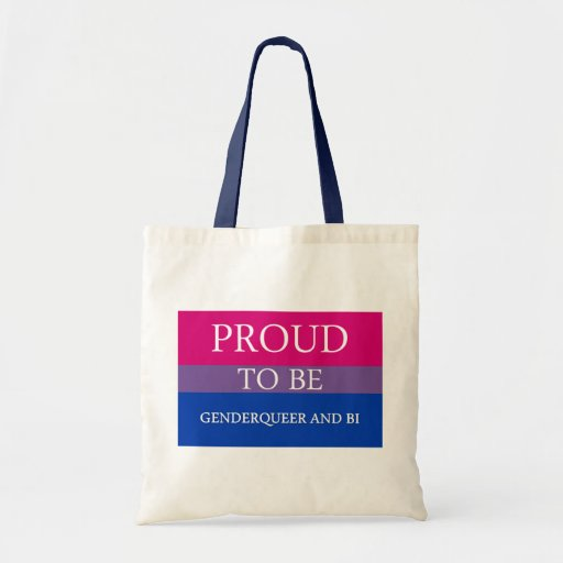 Orgulloso ser Genderqueer y BI Bolsa Lienzo