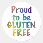 Orgulloso ser gluten libere pegatina redonda