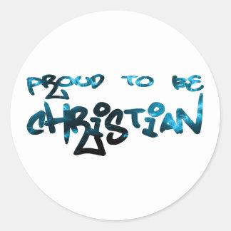 Orgulloso ser Graffity cristiano Pegatina Redonda