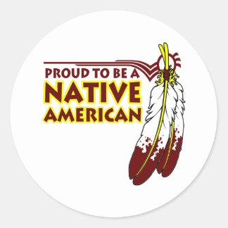 Orgulloso ser indio del nativo americano pegatina redonda