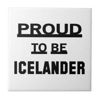 Orgulloso ser islandés azulejo cuadrado pequeño
