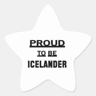 Orgulloso ser islandés pegatina en forma de estrella