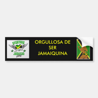 Orgulloso ser jamaicano (estilo español) etiqueta de parachoque