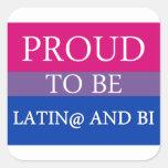 Orgulloso ser Latin@ y BI Calcomanias Cuadradas