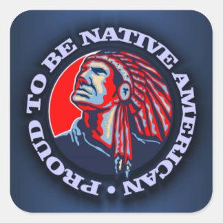 Orgulloso ser nativo americano pegatina cuadrada