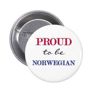 Orgulloso ser noruego pin redondo de 2 pulgadas
