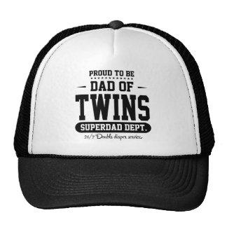 Orgulloso ser papá de los gemelos Superdad Dept. Gorro