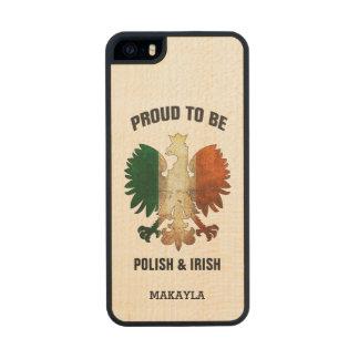 Orgulloso ser polaco e irlandés funda de arce carved® para iPhone 5