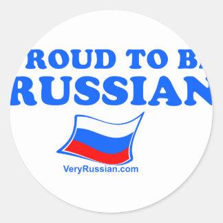ORGULLOSO ser ruso Pegatina Redonda