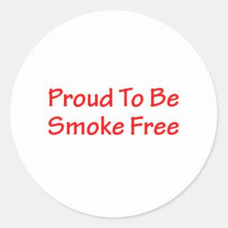 Orgulloso ser sin humos pegatina redonda