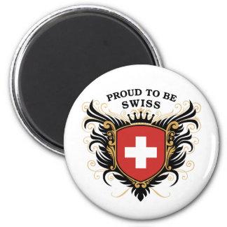 Orgulloso ser suizo imán redondo 5 cm