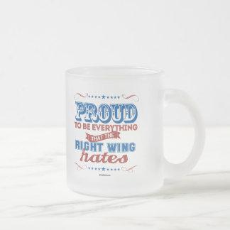 Orgulloso ser todo que la derecha odia taza cristal mate