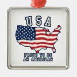 Orgulloso ser un americano ornamento para arbol de navidad
