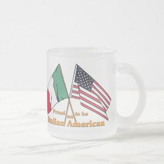 Orgulloso ser un americano italiano taza cristal mate