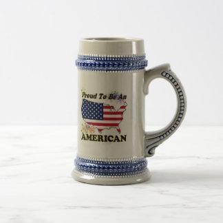 Orgulloso ser un americano jarra de cerveza
