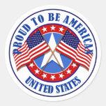 Orgulloso ser un americano pegatinas redondas