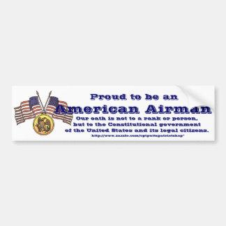 Orgulloso ser un aviador americano pegatina para auto