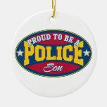 Orgulloso ser un hijo de la policía ornamentos para reyes magos