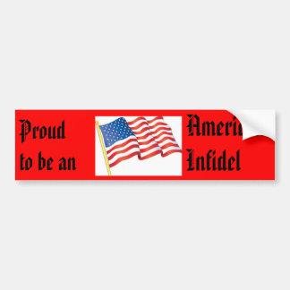 ¡Orgulloso ser un infiel americano! Pegatina Para Auto