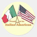 Orgulloso ser un Italiano-Americano Etiquetas Redondas