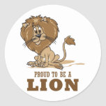 Orgulloso ser un león etiqueta redonda