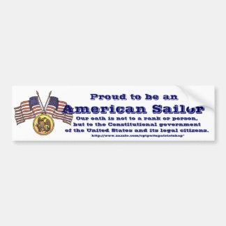 Orgulloso ser un marinero americano pegatina para auto