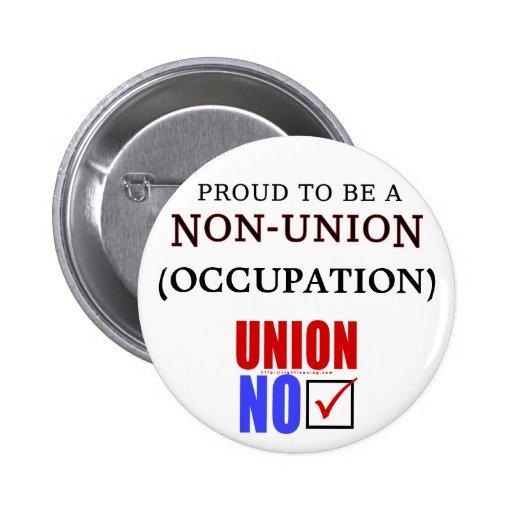 """""""Orgulloso ser un ___no sindical """" Pin Redondo De 2 Pulgadas"""