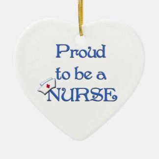 Orgulloso ser un ornamento del enfermera-Colgante Adorno Navideño De Cerámica En Forma De Corazón