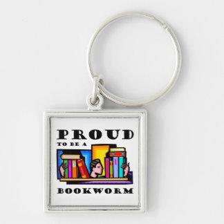 Orgulloso ser un ratón de biblioteca. Aficionado a Llavero Cuadrado Plateado