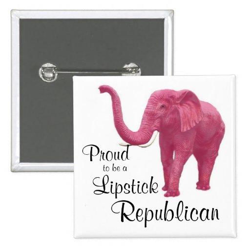 Orgulloso ser un republicano del lápiz labial pin cuadrada 5 cm
