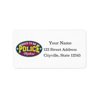 Orgulloso ser un sobrino de la policía etiquetas de dirección