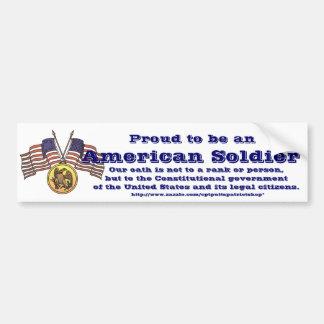 Orgulloso ser un soldado americano pegatina para auto