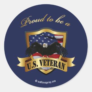 Orgulloso ser un veterano de los E.E.U.U. - azul Pegatina Redonda