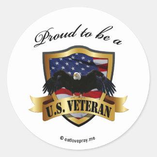 Orgulloso ser un veterano de los E.E.U.U. Pegatina Redonda