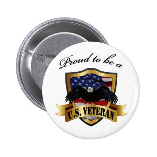 Orgulloso ser un veterano de los E.E.U.U. Pin Redondo De 2 Pulgadas