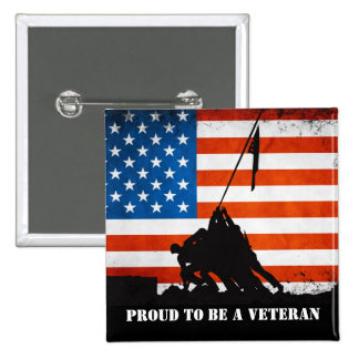 Orgulloso ser un veterano pin cuadrada 5 cm