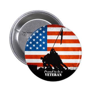 Orgulloso ser un veterano pin redondo 5 cm