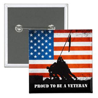 Orgulloso ser un veterano pin cuadrado