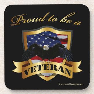 Orgulloso ser un veterano posavasos de bebidas