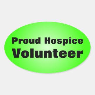 Orgulloso ser un voluntario del hospicio pegatina ovalada