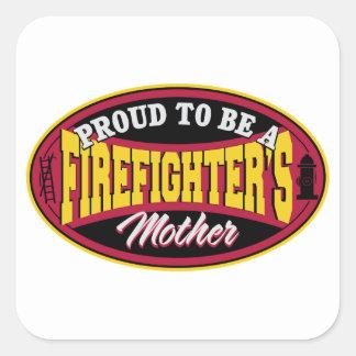 Orgulloso ser una madre de los bomberos pegatina cuadrada