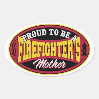 Orgulloso ser una madre de los bomberos pegatina ovalada
