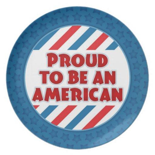 Orgulloso ser una placa patriótica americana plato de comida