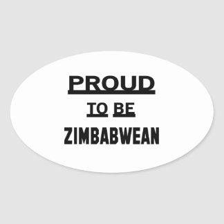 Orgulloso ser zimbabuense pegatina ovalada