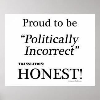 Orgulloso y honesto póster