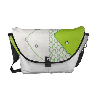 Orient Accent Whimsical Hand-drawn Fish Pattern Messenger Bag